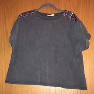 Zara over sized t shirt with sequin shoulders